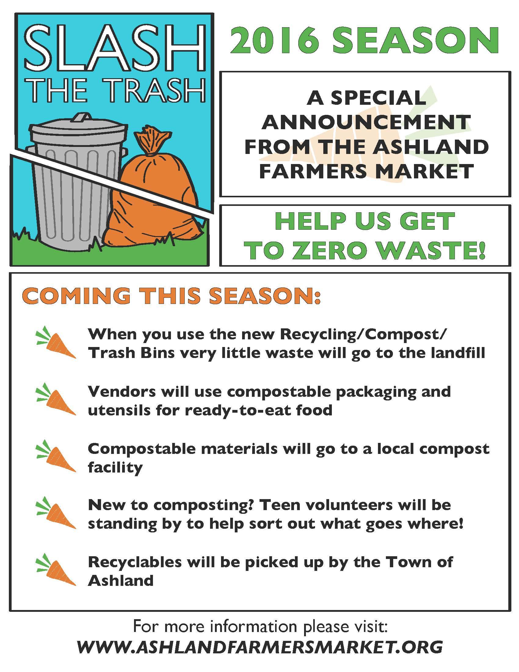 Slash The Trash Ashland Farmers Market
