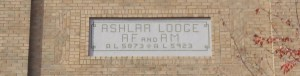 Ashlar Masonic Temple sign, 101 Commercial Street, Nanaimo