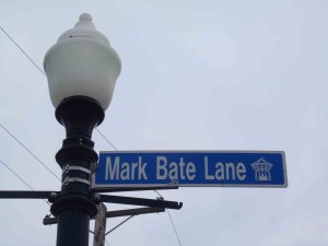 Mark Bate Lane street sign, Nanaimo City Hall