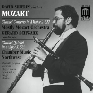 CD cover, Mozart - Clarinet Concerto & Clarinet Quintet, David Shifrin, Delos Records