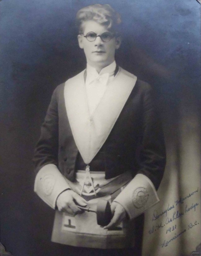 Douglas Manson, Worshipful Master of Ashlar Lodge, No.3 in 1931