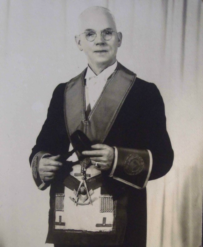 John Fee, Worshipful Master of Ashlar Lodge, No.3 in 1953