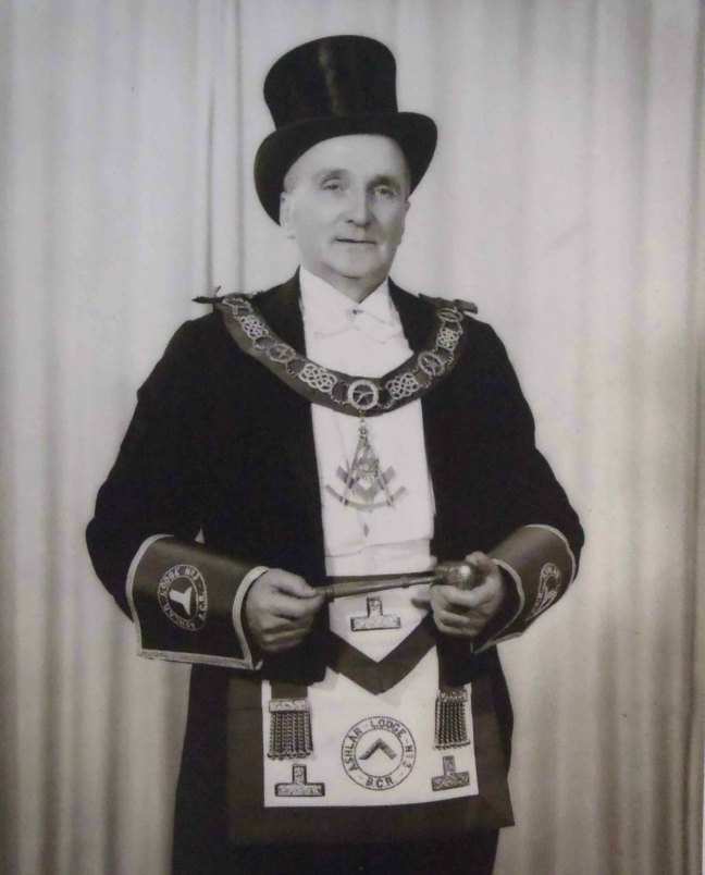 John Ross, Worshipful Master of Ashlar Lodge, No.3 in 1956