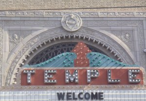 Temple Theater entrance sign, Meridian, Mississippi. The theater is owned by the Shrine. Note the Shrine symbol at the top of the arch.