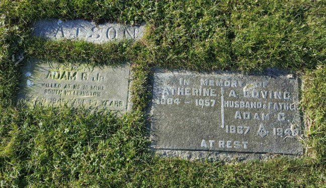 Adam G. Watson grave marker, Bowen Road Cemetery, Nanaimo, B.C.