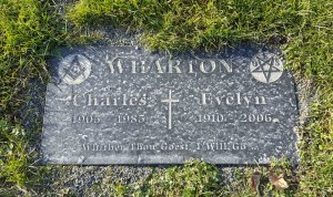 The grave marker of Charles Wharton and Evelyn Wharton in Bowen Road Cemetery, Nanaimo, B.C.