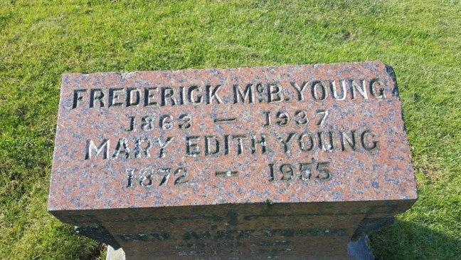 Frederick McBain Young (P.G.M.) grave inscription, Bowen Road Cemetery, Nanaimo, B.C.