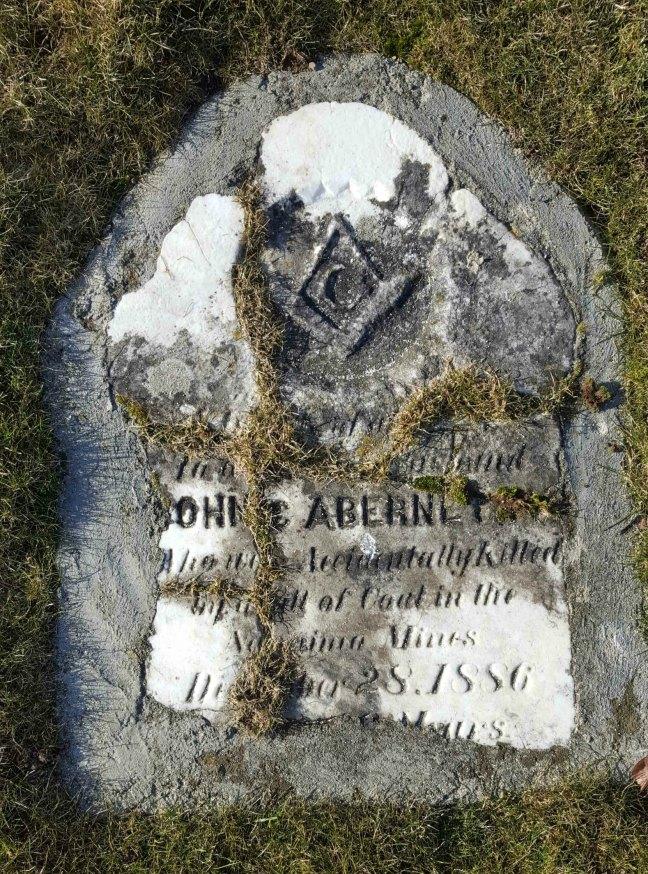 John Abernathy grave marker, Bowen Road Cemetery, Nanaimo, B.C.