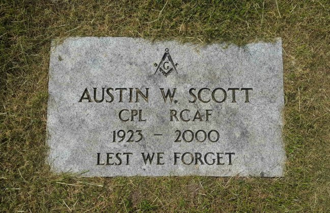 Austin W. Scott grave, Bowen Road Cemetery, Nanaimo (photo by Ashlar Lodge No. 3 Historian)