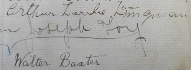 Joseph Foy signature in Ashlar Lodge No. 3 membership book, 1913 (photo by Ashlar Lodge No. 3 Historian)