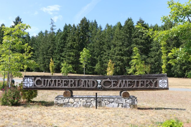 Cumberland Cemetery entrance sign, Cumberland, B.C. (photo: Ashlar Lodge No. 3 Historian)