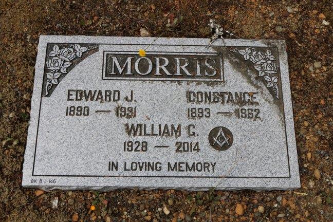 William Morris grave, Cumberland cemetery, Cumberland, B.C. (photo: Ashlar Lodge No. 3 Historian)