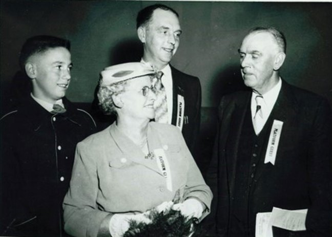 John Barsby (right) with his wife Mary, son Ted and grandson Ted at the opening of John Barsby School, 1956 (photo courtesy of Donald Boudot - private collection)