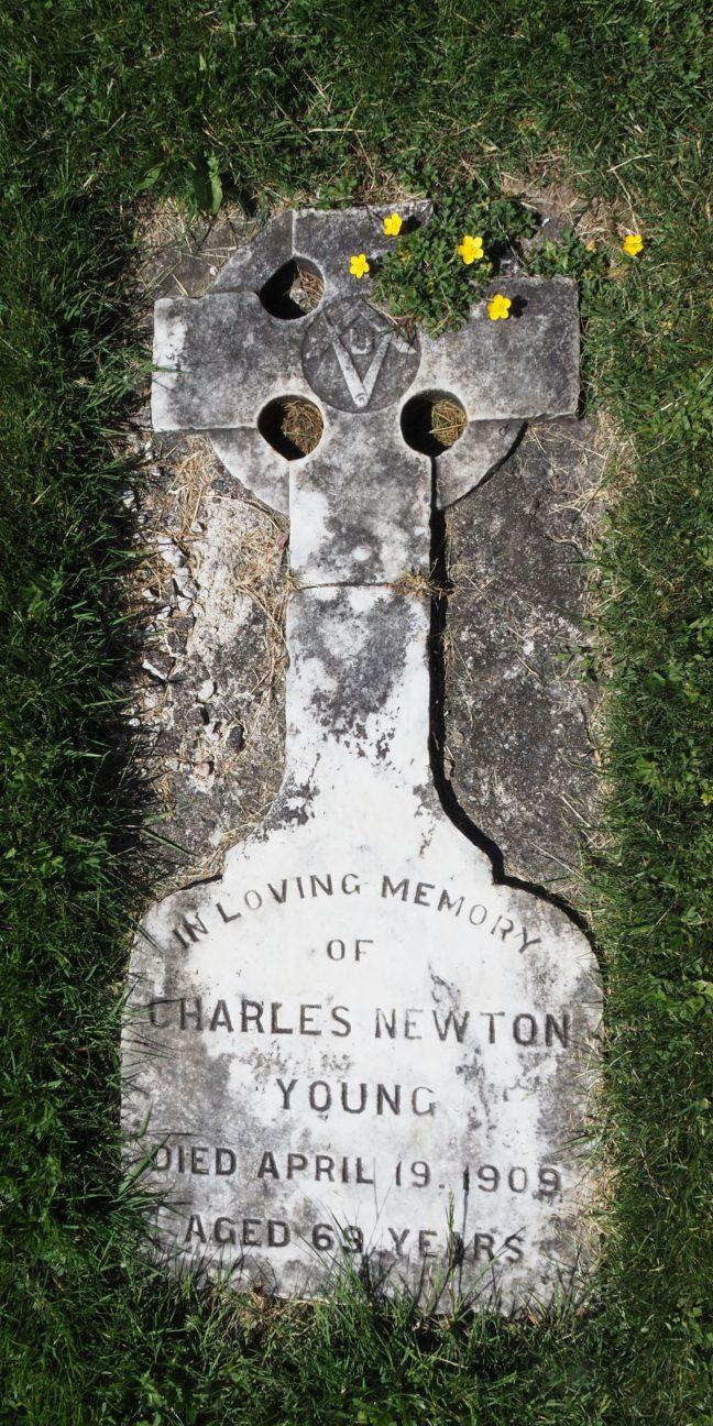 Charles Newton Young grave marker, Bowen Road Cemetery, Nanaimo, B.C. (photo: Ashlar Lodge No. 3 Historian)