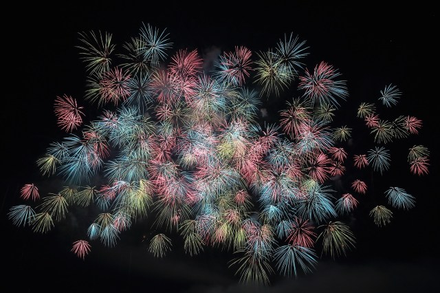 Colorful fireworks new years celebration