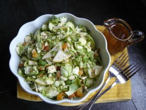 Brussels sprouts salad with pear, apricot, almonds and spiced-maple dressing
