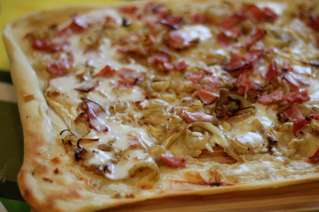 Tarte Flambée Recipe Alsatian Pizza With Bacon Crème Fraîche And
