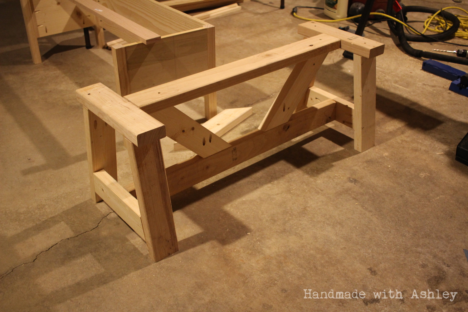 DIY Providence Bench (Plans by Ana White) - Handmade with Ashley