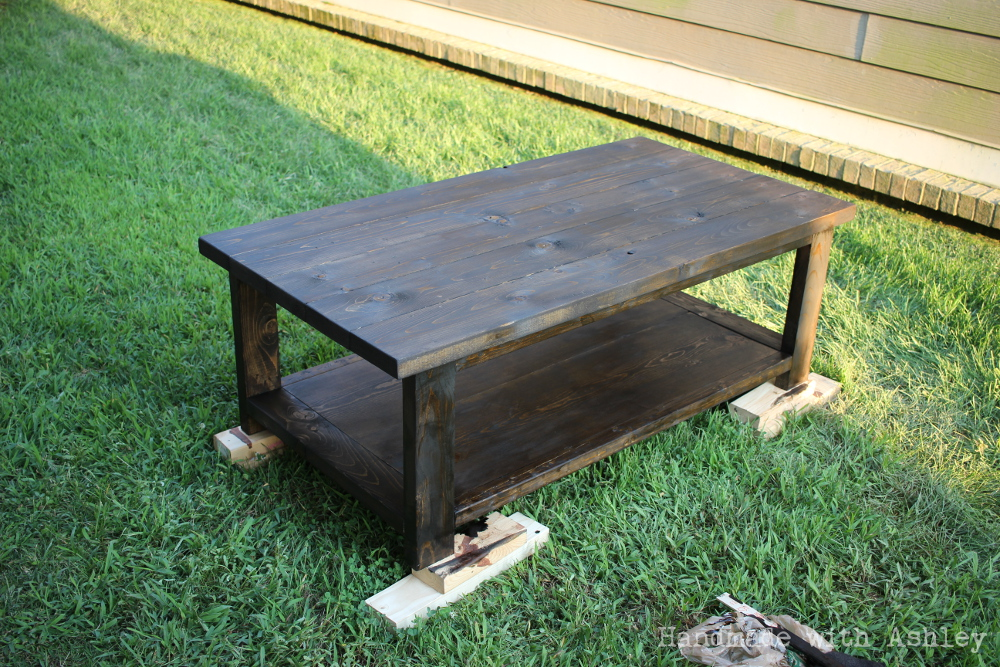 Staining the coffee table with Minwax Wood Finish