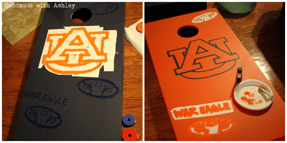 Stenciling in the Auburn Tiger and War Eagle