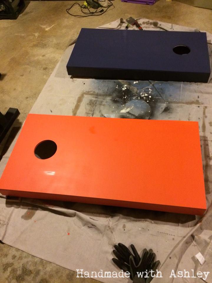 Base coat of paint drying