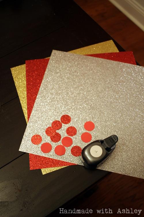 Paper punching glitter scrapbook paper
