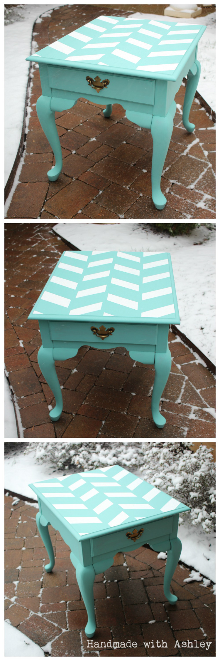 Herringbone end table General Finishes chalk paint makeover