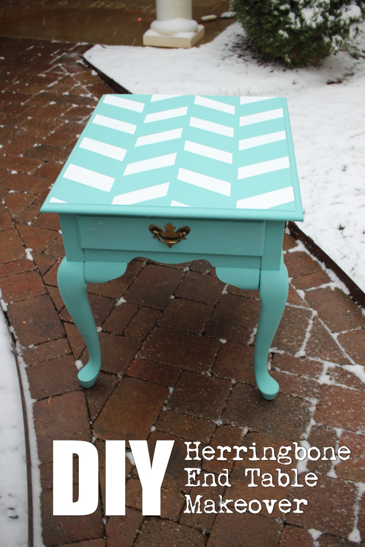 DIY Herringbone End Table Makeover