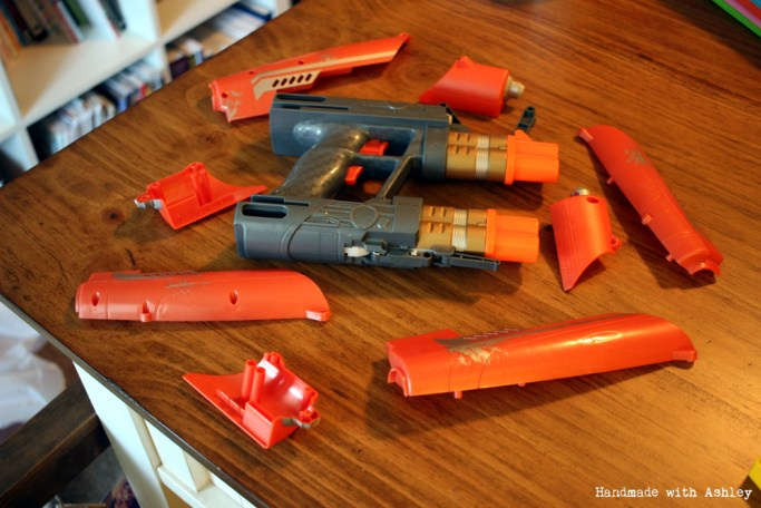 Quad Blaster Nerf Gun disassembled