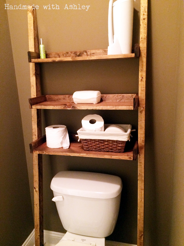 Diy Leaning Ladder Bathroom Shelf Plans By Ana White Handmade With Ashley