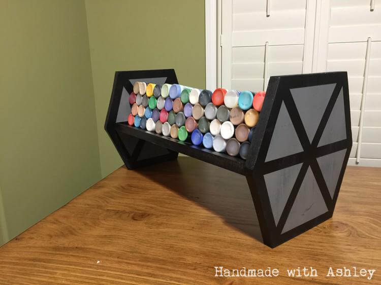 TIE Fighter shelf storing acrylic craft paints