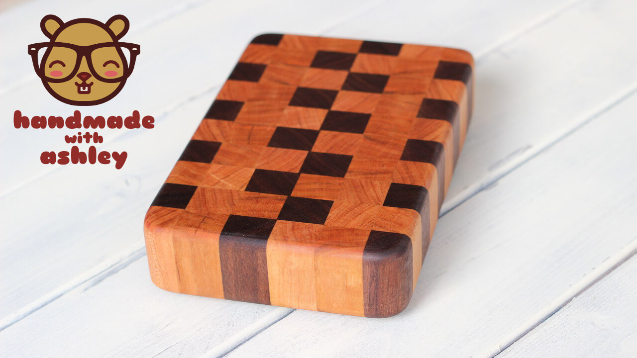 Step by step instructions on how to make a beautiful end grain cutting board from walnut and cherry. Perfect homemade gift for any special occasion!