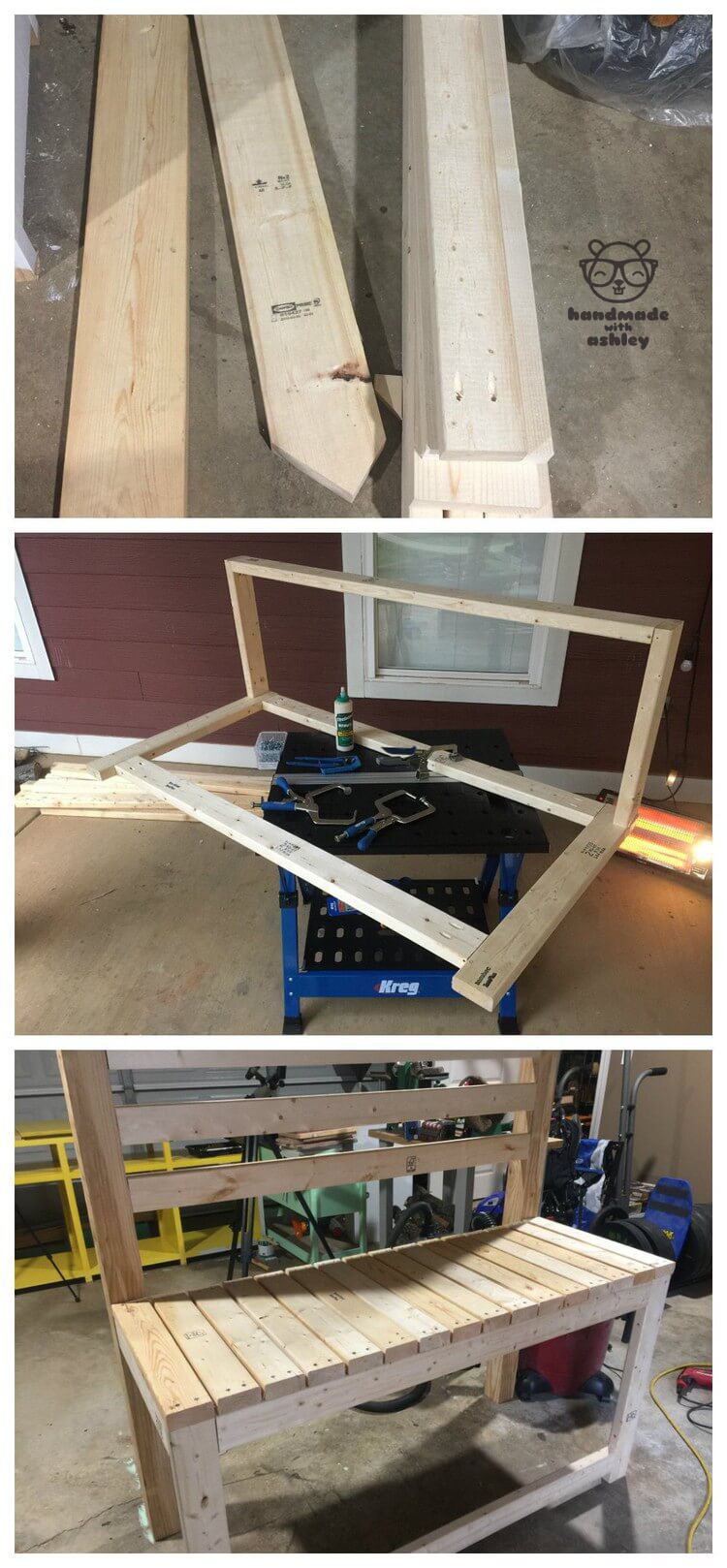 Building the junior loft bed with a mixture of pocket hole joinery with the Kreg Jig and knockdown hardware with the bed rail brackets.