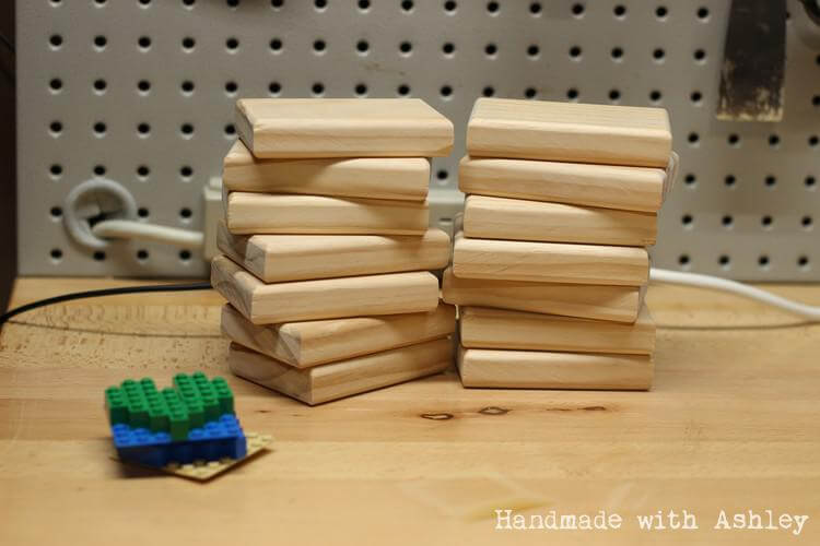 Wooden blocks sanded and ready for velcro and stickers!