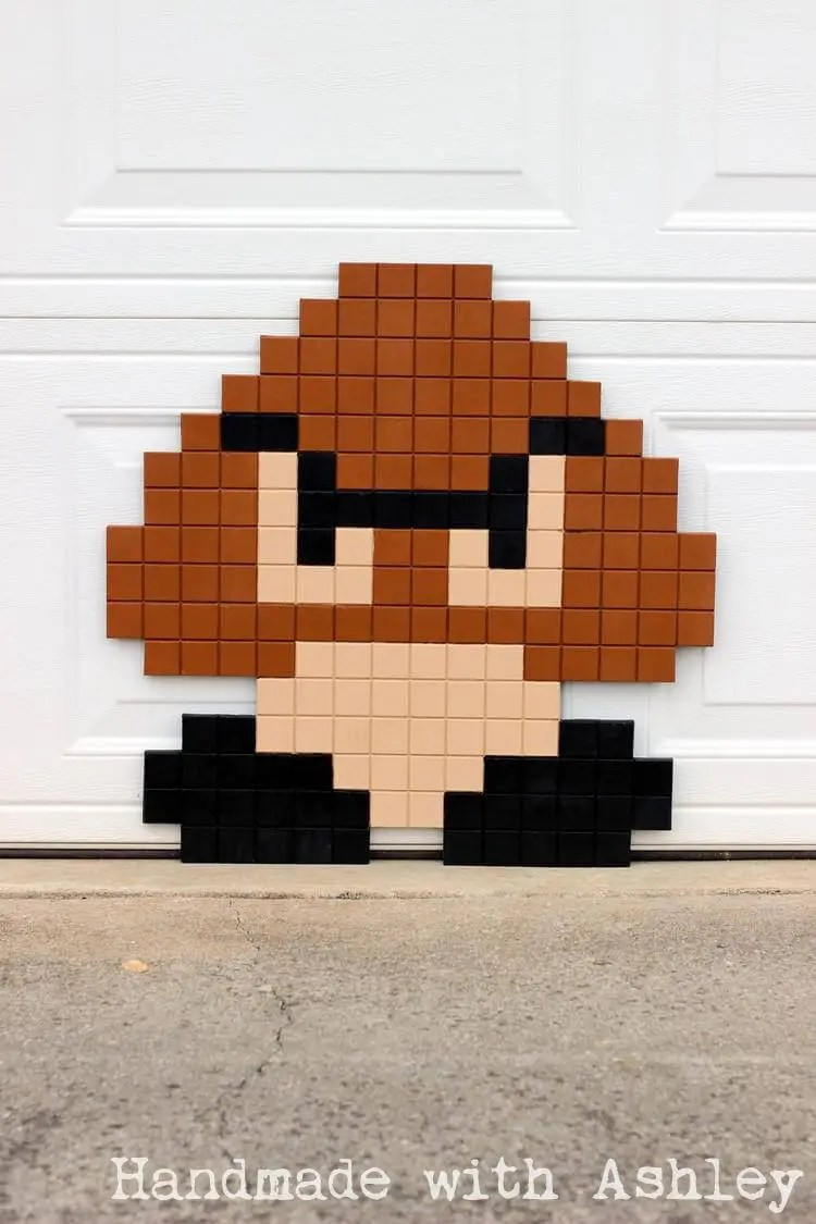 Super Mario Bros 8 Bit Goomba Pixel Art Diy Tutorial Handmade