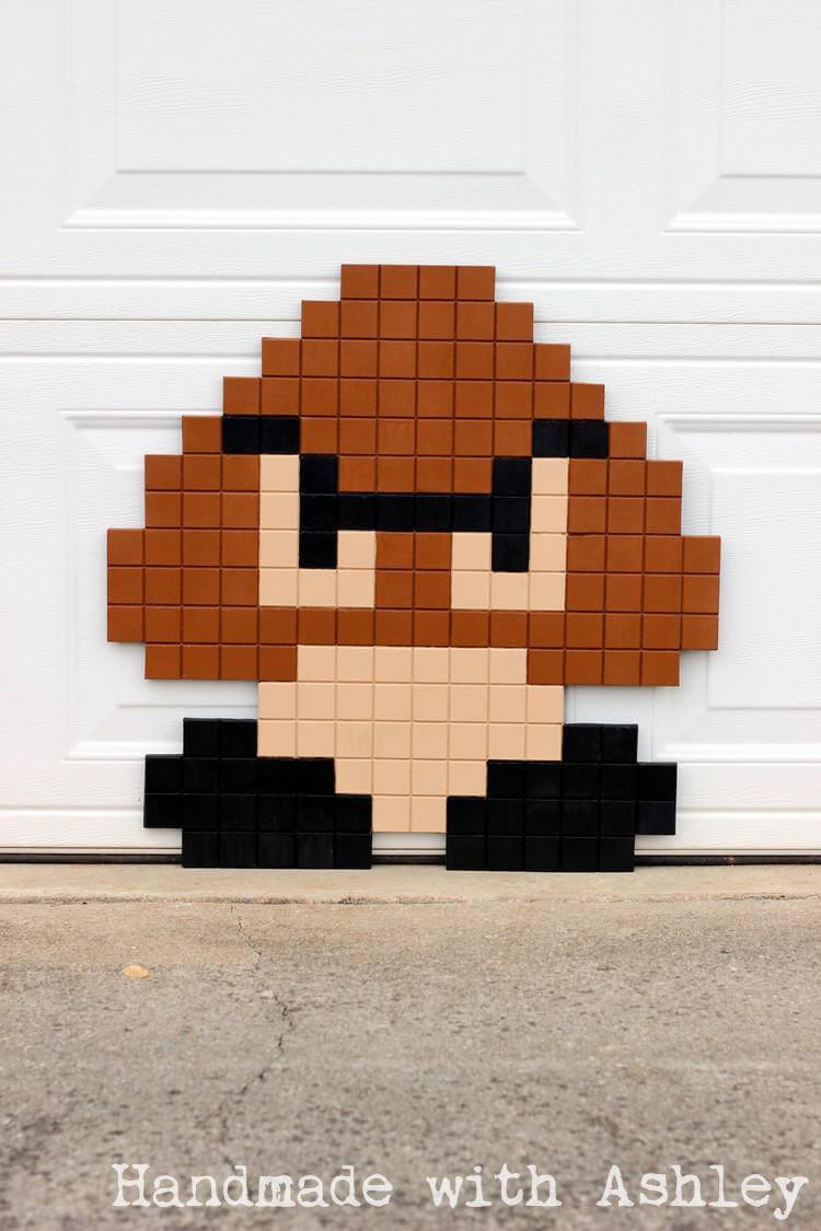 Super Mario Bros 8 Bit Goomba Pixel Art Diy Tutorial Handmade