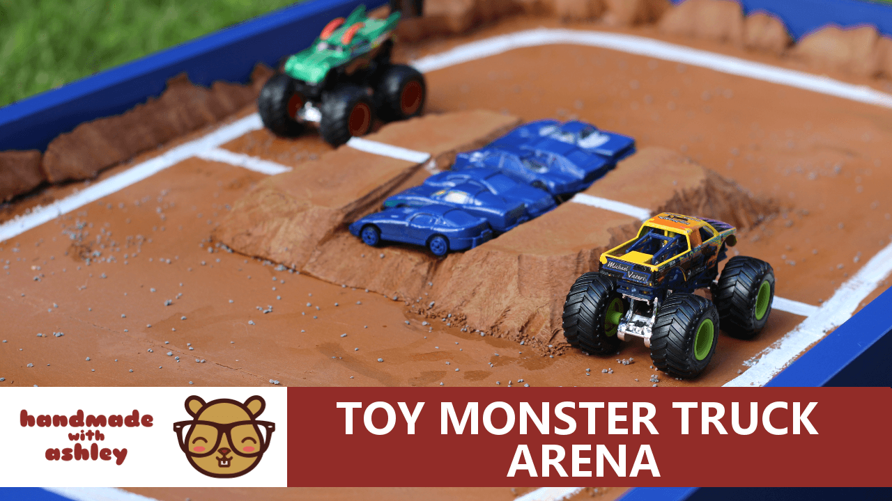 build a toy monster truck arena - handmade with ashley