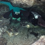 Heading out of the Ginnie Springs Ballroom back into the spring