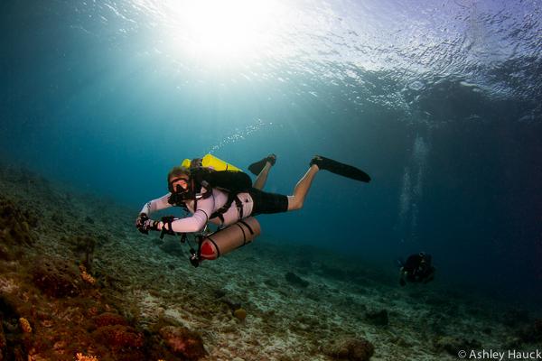 REvo rebreather diver in Curacao
