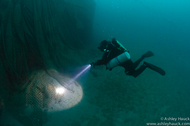 Rebreather diver at the wreck of the Infidel