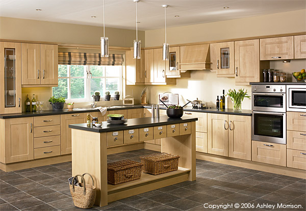 A Ribbed Shaker sandy birch kitchen with island unit by OS Doors Ltd.