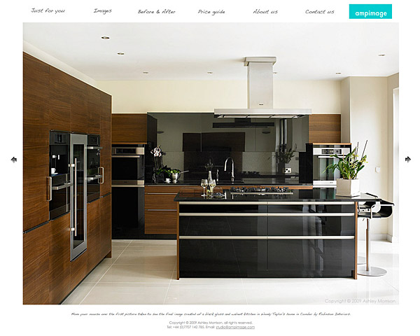 black gloss and walnut kitchen in Wendy Taylor's home in Comber by Robinson Interiors.