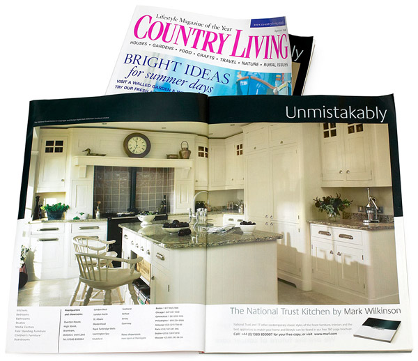Double page spread advertisment for a National Trust kitchen by Mark Wilkinson in the August 2006 issue of Country Living magazine.