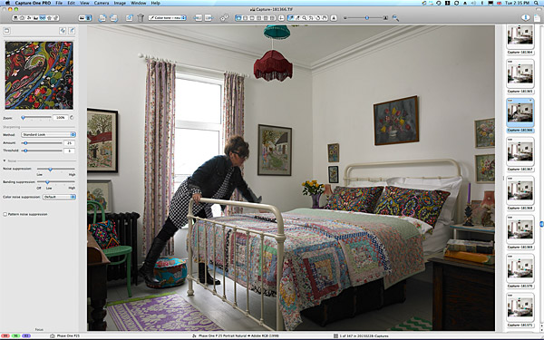 Marie setting up the bedroom image in Keri Johnston's townhouse.