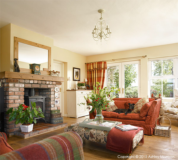 The living room of Lesley Anderson's cottage style bungalow