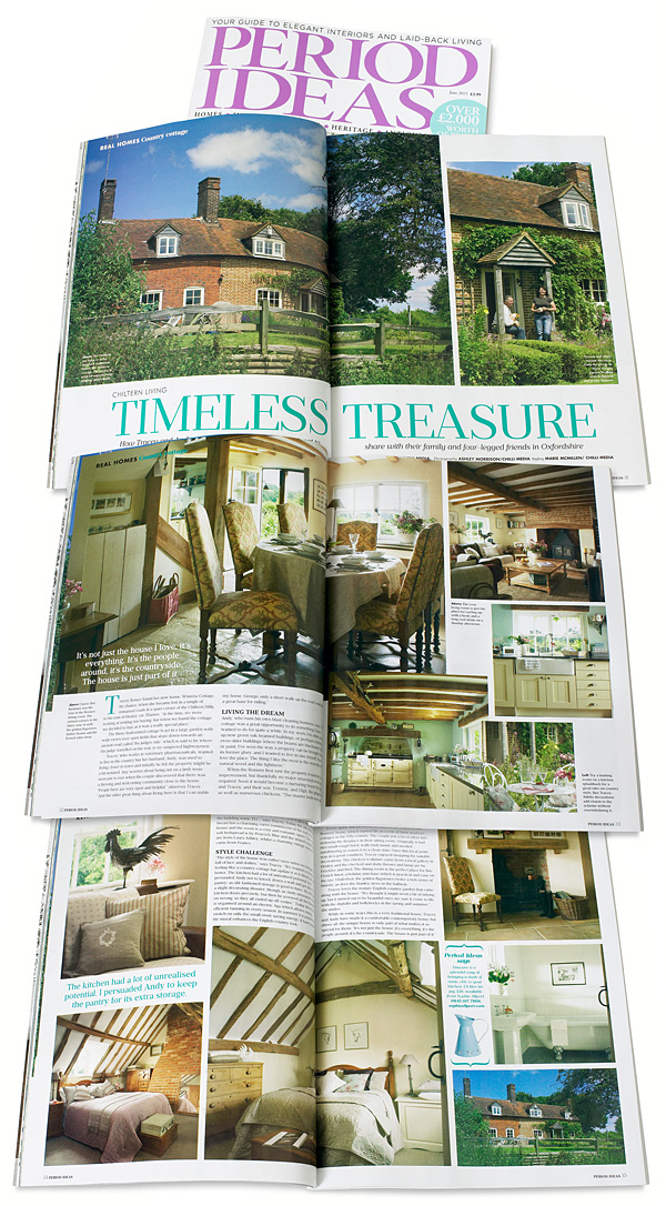Pages 30 to 35 in the June 2015 issue of Period Ideas magazine - featuring Tracey Annison & Andy Rosser's cottage near Checkendon in Oxfordshire