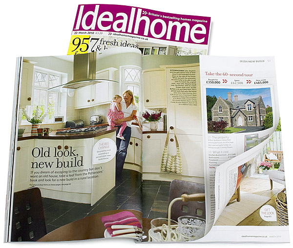 Pages 56 to 63 of the March 2010 issue of Ideal Home magazine featuring Julie and Stephen Patterson's new build on the outskirts of Hillsborough in County Down