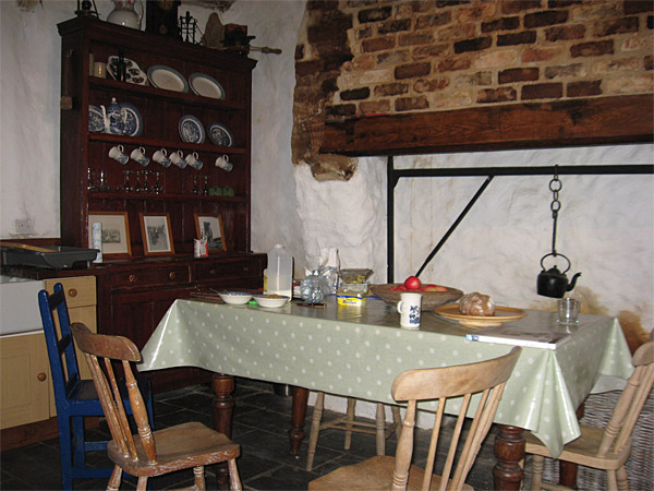 Recce picture of the kitchen in Maggie & Robert Graham's Irish thatched cottage near the village of Kerrykeel in County Donegal.