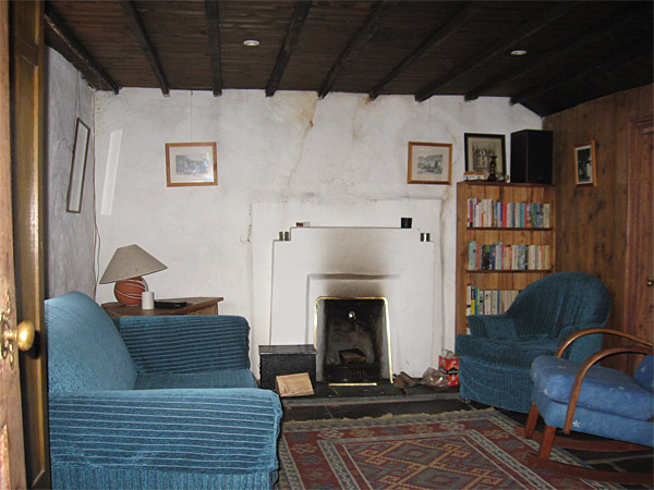 Recce picture of the sitting room in Maggie & Robert Graham's Irish thatched cottage near the village of Kerrykeel in County Donegal.