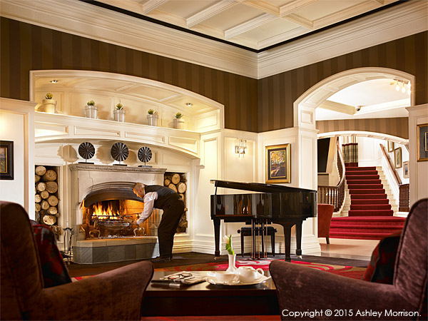 The lobby fireplace at the Killarney Park Hotel in the Irish county of Kerry.